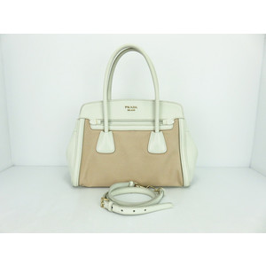 Prada Saffiano BN2595 Women's Canvas,Leather H,a White,Beige