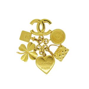 シャネル(Chanel) ココマーク コイン クローバー ハート 香水  ゴールド ブローチ キーホルダー