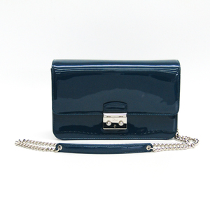 Christian Dior Women's Patent Leather Chain/Shoulder Wallet Blue