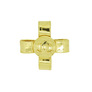 Auth Chanel COCO mark ribbon gold brooch