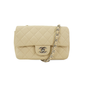 Auth Chanel Matelasse Chain Shoulder Bag Silver Hardware Caviar Leather Beige