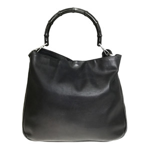 Gucci 0011577 Leather,Bamboo HandBag Black