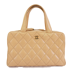 4fb0a5d91904 Auth Chanel Handbag Wild Stitch Beige Gold