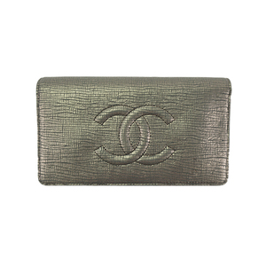 41fac0cb0911 Auth Chanel Long Wallet (bi-fold) Leather Gray