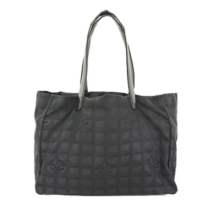 Auth Chanel New Travel Line Tote Bag Black