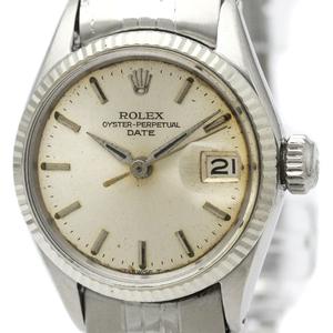 【ROLEX】ロレックス オイスター パーペチュアル デイト 6517 ホワイトゴールド ステンレススチール 自動巻き レディース 時計