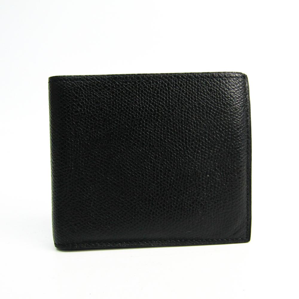 Valextra V8L23-044-00AR-RD Unisex Leather Wallet (bi-fold) Black