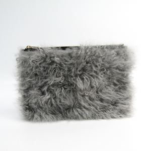 Valextra Paspatote Medium Pocket V3A67 Women's Leather,Fur Pouch Black,Gray