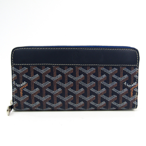 Goyard Matignon Leather,Canvas Long Wallet (bi-fold) Navy