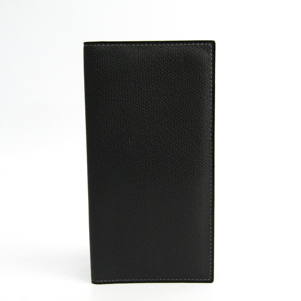 Valextra Vertical 12 Card V8L21 Men's Leather Long Bill Wallet (bi-fold) Dark Gray