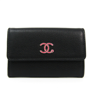 Chanel Lucky Clover A84198 Leather Card Case Black,Pink