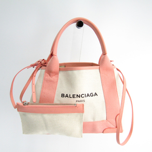 Balenciaga Navy Cabas XS 390346 Women's Canvas,Leather Bag Ivory,Light Pink