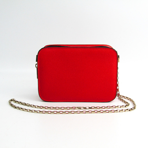 Valextra Chain Women's Leather Shoulder Bag Red