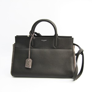Saint Laurent Cabas Rive Gauche 436620 Women's Leather,Suede Handbag Gray