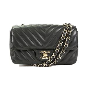 Auth Chanel Chain Shoulder Bag V Stitch Lambskin Black Silver