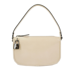 Auth Loewe Pouch Beige Silver