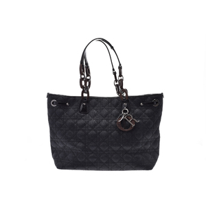 Christian Dior Straw,Leather Bag Black