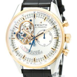 ZENITH ゼニス クロノマスター オープン パワーリザーブ K18 ピンクゴールド ステンレススチール レザー 自動巻き メンズ 時計