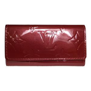 Auth Louis Vuitton Monogram Vernis M93517 Multicles 4 Cerise Keycase