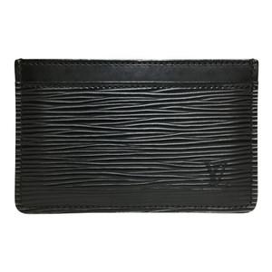 Auth Louis Vuitton Epi M63512 Porto Carte Simple Card Case Noir