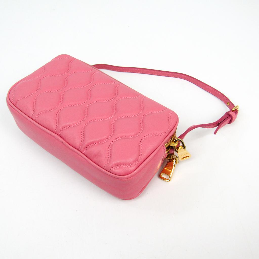 Miu Miu 5ZH010 Women s Leather Pouch Pink BF333753  6a8e200c9