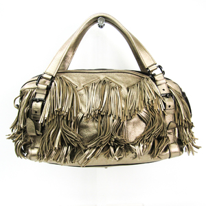 Burberry Women's Leather Handbag Metallic Beige