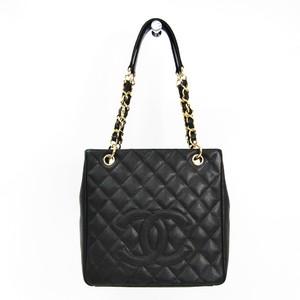 Chanel Caviar Skin Petit Shopping Tote PST A20994 Women's Caviar Leather Tote Bag Black