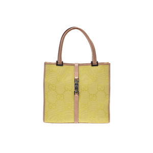 Gucci Jackie Women,Girls Canvas,Leather Handbag Yellow