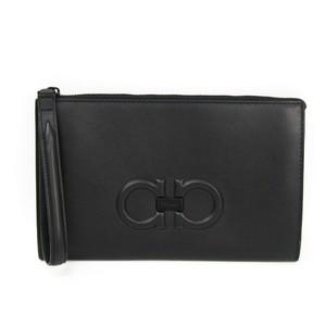 Salvatore Ferragamo Gancini 240998 Women's Leather Clutch Bag Black