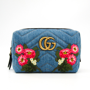 Gucci GG Marmont 476165 Women's Denim,Leather Pouch Pink