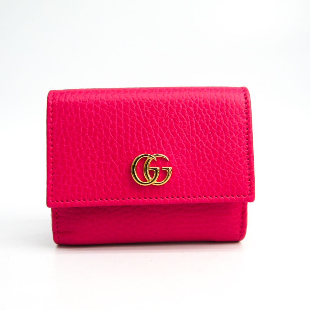 bee39cc3e5a2 Details about Gucci GG Marmont 524672 Women's Leather Wallet (tri-fold)  Pink BF334361