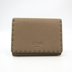 Fendi Selleria 8M0217 Leather Card Case Light Brown
