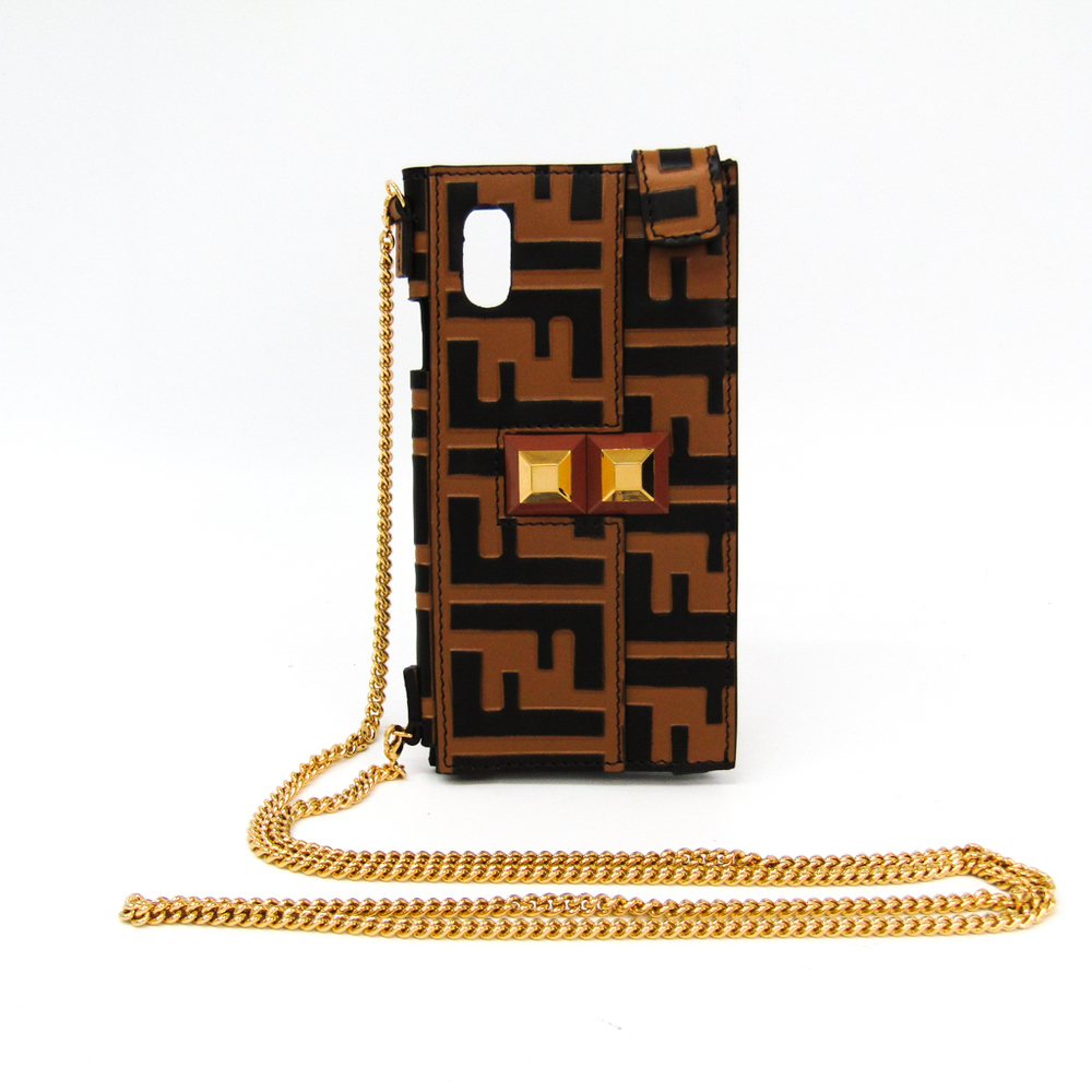 Fendi Leather Phone Skin For IPhone X Black,Light Brown 7AR669