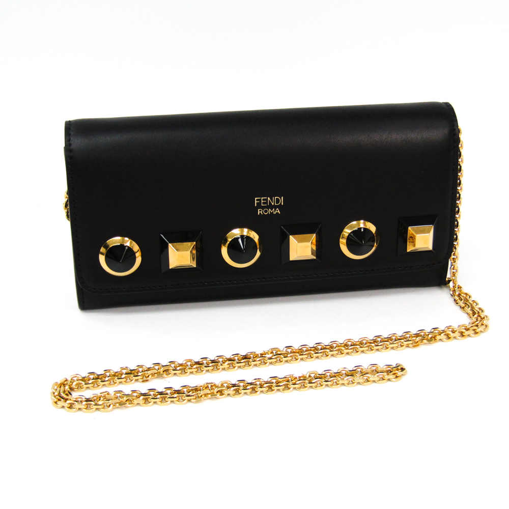 Fendi Plexiglass Studs 8M0365 Women's Leather Chain/Shoulder Wallet Black,Gold