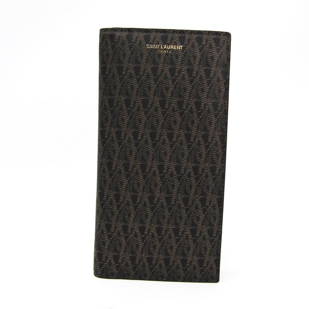 サン・ローラン(Saint Laurent) モノグラム 315866 メンズ レザー 長財布(二つ折り) ブラック,ブラウン