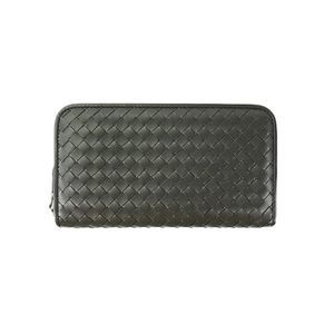 Auth Bottega Veneta Long Wallet Intrecciato Black