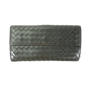 Auth Bottega Veneta Long Wallet (tri-fold) Intrecciato 134075 Black