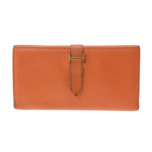 Hermes Bearn Chevre Leather Wallet Orange