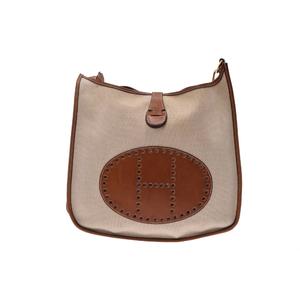 Hermes Evelyne GM Toile H,Barenia Leather Bag Beige,Noisette