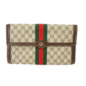 Auth Gucci Clutch Bag Perfume Brown Gold