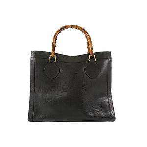 Auth Gucci Handbag Bamboo Black