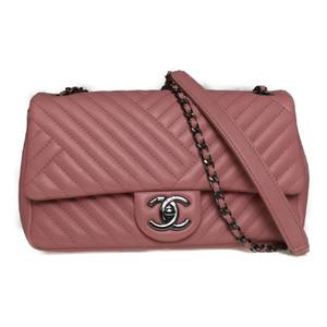 シャネル(Chanel) Vステッチ シェブロン ラムスキン チェーンショルダーバッグ ダブルチェーン ピンク