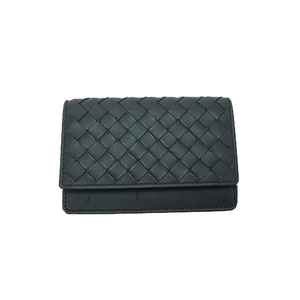 Auth Bottega Veneta Card Case Intrecciato Navy