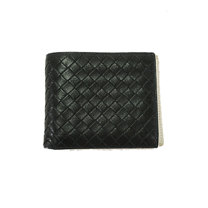 Auth Bottega Veneta Leather Wallet  Intrecciato Black