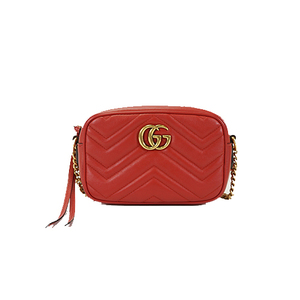 Auth Gucci Leather Shoulder Bag Red Gold