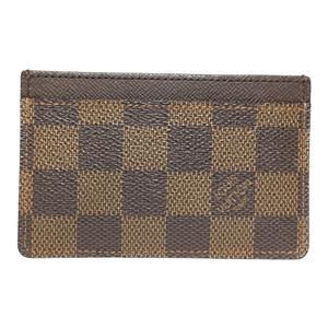 Auth Louis Vuitton Porto cult Sampur Damier Simple Card Case N61722 Ebene