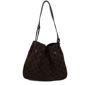 Auth Gucci Shoulder Bag Brown Silver