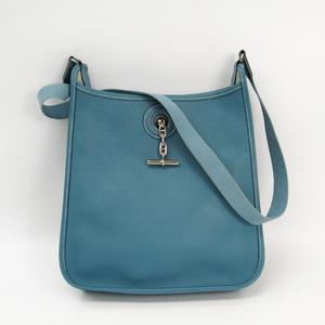 Hermes Vespa Women's Courchevel Leather Shoulder Bag Blue Jean