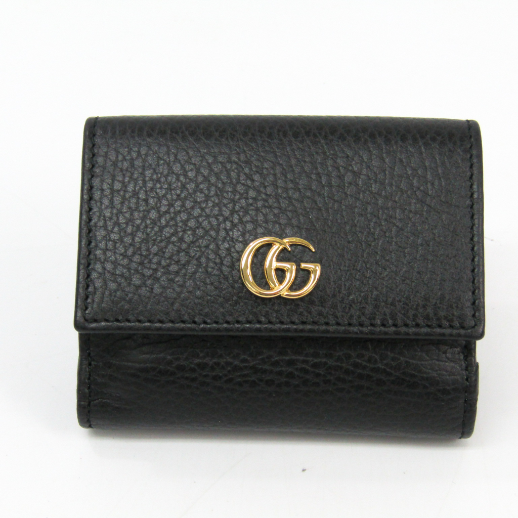 f3b3850f4be4e1 Details about Gucci GG Marmont 524672 Women's Leather Wallet (tri-fold)  Black BF334527
