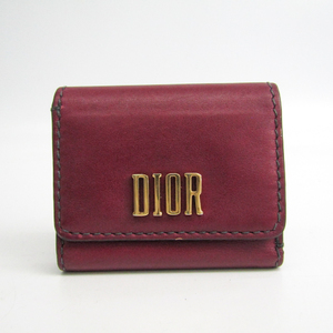 Christian Dior D-FENCE LOTUS Women's  Calfskin Wallet (tri-fold) Bordeaux
